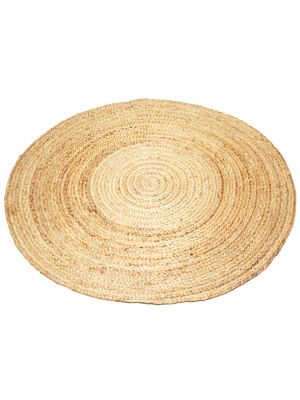 Handmade Round Jute Rug - Plain - Natural - 100x100