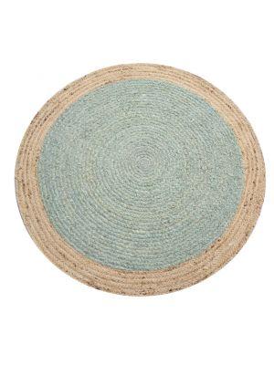 Tribal Round Handwoven Jute Rug  - Ripple - Cyan Blue/Natural - 120x120cm