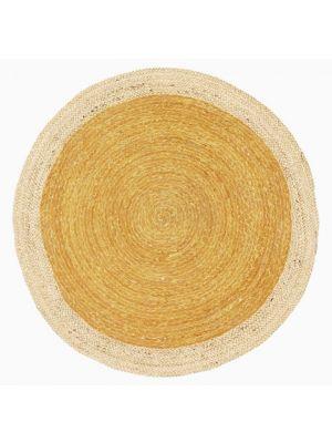 Handmade Round Jute Rug - Ripple - Gold/Natural - 100x100