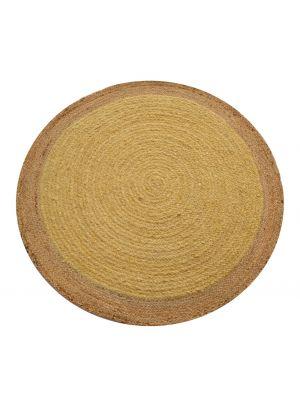 Tribal Round Handwoven Jute Rug  - Ripple - Mustard Yellow/Natural - 120x120cm