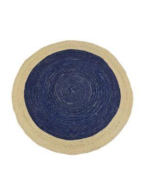 Tribal Handwoven Round Jute Rug - Ripple - Navy/Natural - 100x100cm