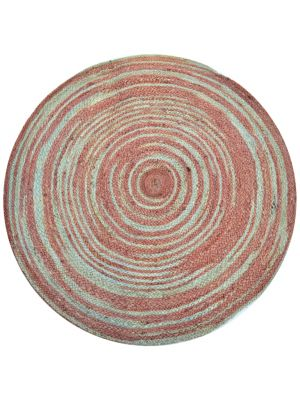 Tribal Handwoven Round Jute Rug - Spiral - Aqua/Rose - 100x100cm