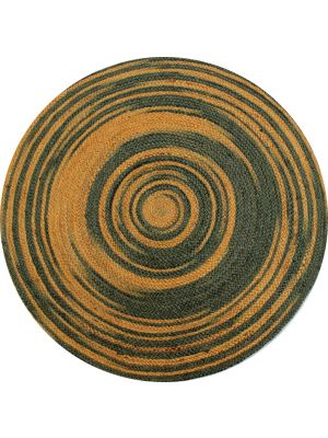 Tribal Handmade Round Jute Rug - Spiral - Grey/Gold - 100x100