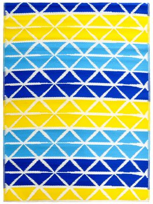 Reversible Indoor/Outdoor Mats - Chatai-2685-Aqua Yellow-90x150