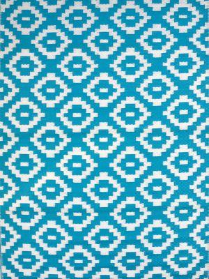 Reversible Indoor/Outdoor Mats - Chatai A004 - Aqua/White-120x170