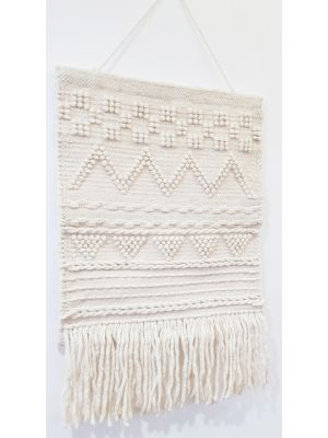 Handwoven Woolen Macrame - AD001 - Ivory - 50x80