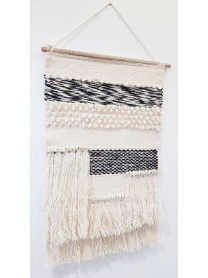 Handwoven Woolen Macrame - AD002 - Ivory/Black - 50x80
