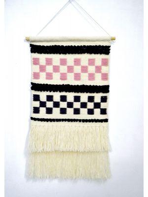 Artisan Decor Handwoven Woolen Wall Hanging - AD008 - Ivory/Pink - 50x90cm