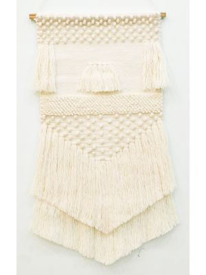 Handwoven Woollen Wall Hanging - AD010 - Ivory - 50x90cm