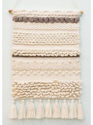 Handwoven Woollen Wall Hanging - AD011 - Ivory - 50x80cm