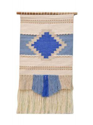 Handwoven Woollen Trendy Wall Hanging - AD012 - Ivory/Blue - 50x90cm