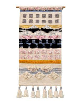 Handwoven Woollen Trendy Wall Hanging - AD015 - Ivory/Multi - 50x100cm