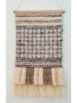 Handwoven Woollen Wall Hanging - AD16 - Ash Grey/Sand - 50x90cm