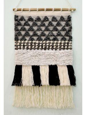 Handwoven Woollen Wall Hanging - AD17 - Grey - 50x90cm