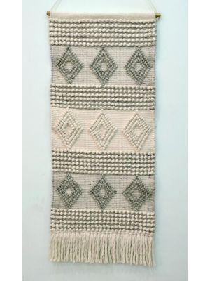 Handwoven Woollen Wall Hanging - AD18 - Ivory/Grey - 50x110cm