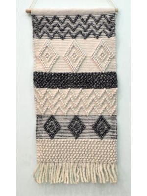 Handwoven Woollen Wall Hanging - AD19 - Ivory/Charcoal - 50x110cm