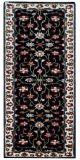 Evergreen Kashan Handmade Woolen Runner Rug - 902 - Black/Cream - 80x300cm